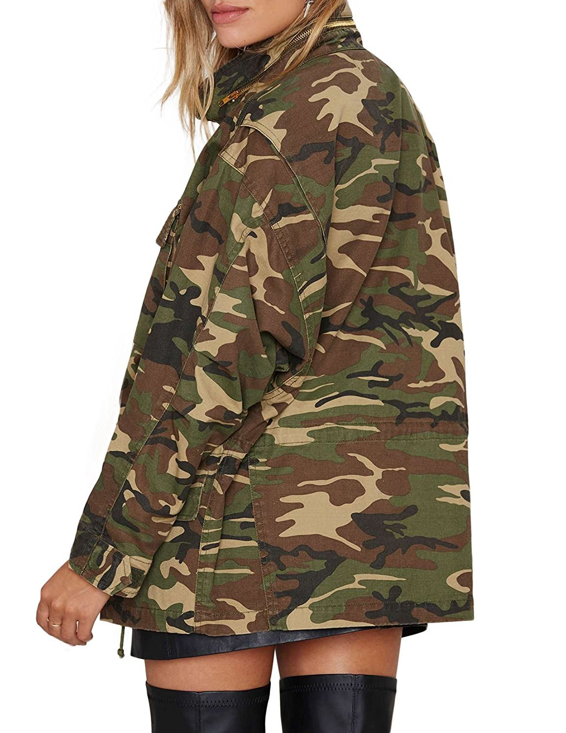 haoduoyi Womens Loose Camouflage Coats Disposition Outwear Jackets (XL) by HaoDuoYi (Image #3)