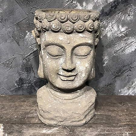 zenggp Cabeza De Maceta Estatua Exterior Decoración De Jardín Cabeza De Cemento Florero De Jarrón Adorno,B+30cm: Amazon.es: Hogar