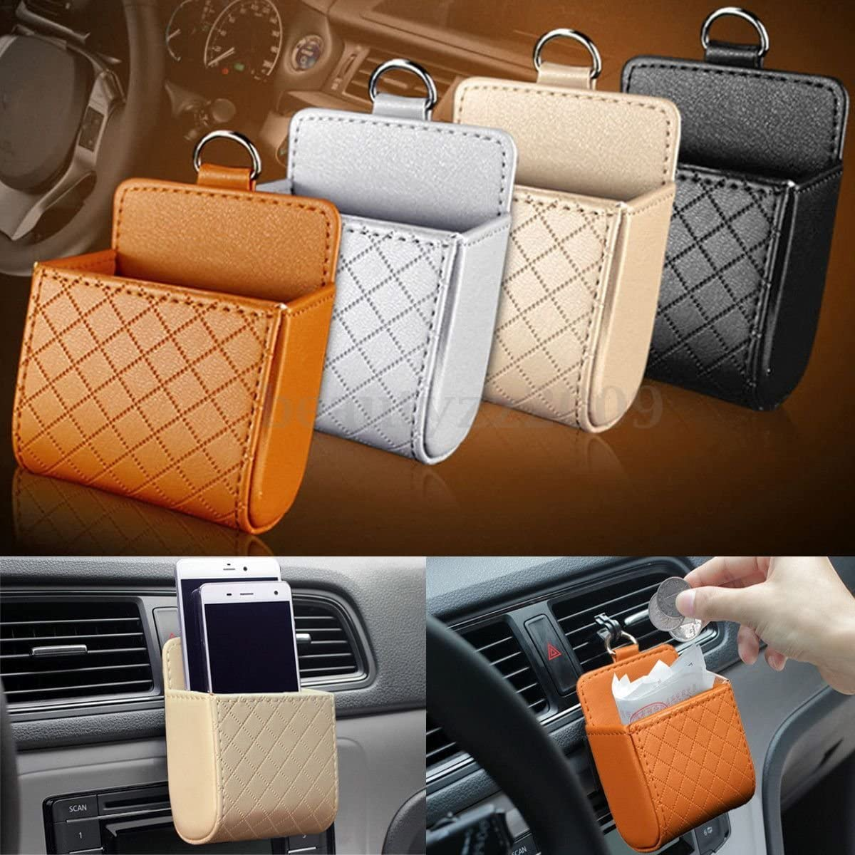 Yosoo Car Auto Seat Back Interior Air Vent Tidy Storage Coin Bag Case Organizer Cellphone Holder Pounch Box with Hook Gray