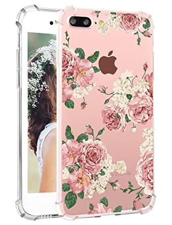 Floral Iphone 8 Plus Case Flowers Iphone 7 Plus Cases Girly Pink Flowers Clear Iphone 7 Plus Cases Protective Flexible Tpu With Four Bumpers