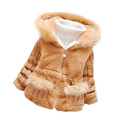 20c16bf0c2d5 Amazon.com  Ancia Baby Girls Infant Winter Knited Fur Outerwear ...