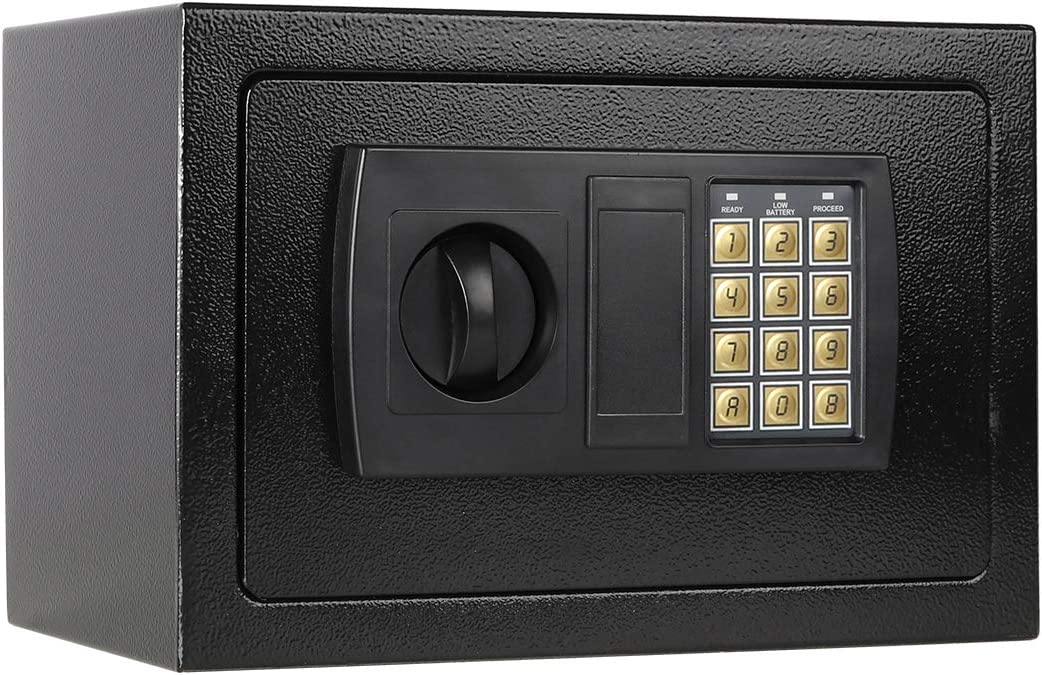Lovndi Security Lock Box with Keypad, 0.33 Cubic Feet Digital Safe Box for Home Office, 12.2x7.8x7.8 inches, Black