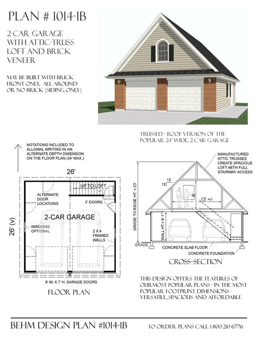 amazon com garage plans 2 car with attic truss loft 1014 1b amazon com garage plans 2 car with attic truss loft 1014 1b 26 x 26 two car by behm design wall decor stickers baby