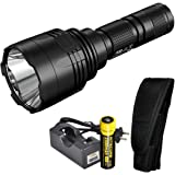 Nitecore P30 1000 Lumen 676 Yard Throw Rechargeable Searchlight Flashlight with Nitecore 18650 rechargeable battery and LumenTac charger