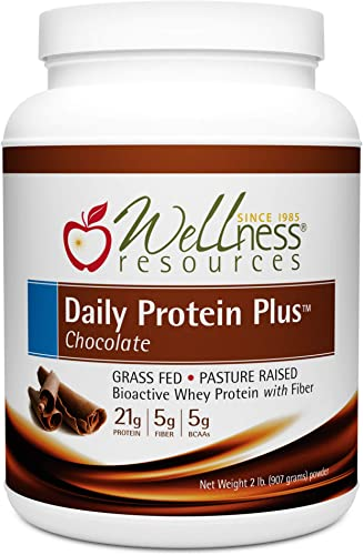 Daily Protein Plus Chocolate – Grass Fed, Pasture Raised Bioactive Whey Protein Isolate with Guar Fiber and Organic Cocoa – No Sweeteners, Soy-Free, Gluten-Free 2 lb.