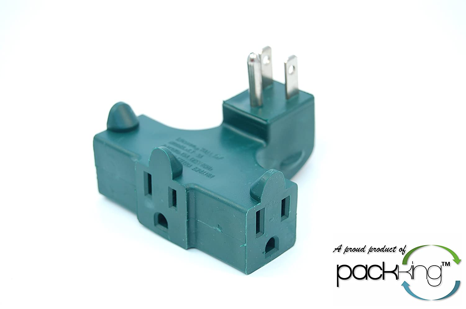 3 Plug Outlet Right Angle 90 Degree Splitter Adapter Plug - Great Behind Chairs! IIT