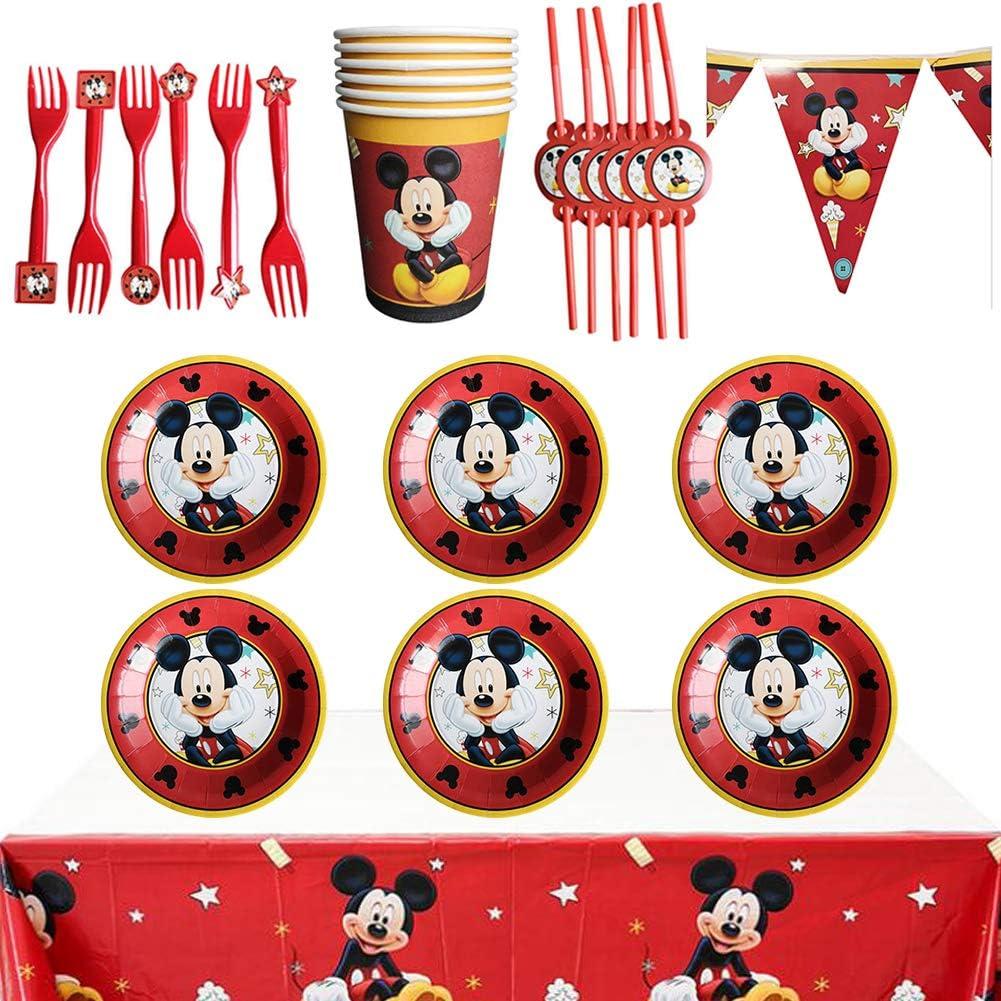 WENTS Gebutstag Party Set 26PCS Mickey Kindergeburtstag Deko Set Becher Tischdeko f/ür Mickey Kindergeburtstag Mottoparty Tischdeko Partygeschirr Set f/ür 6 Personen