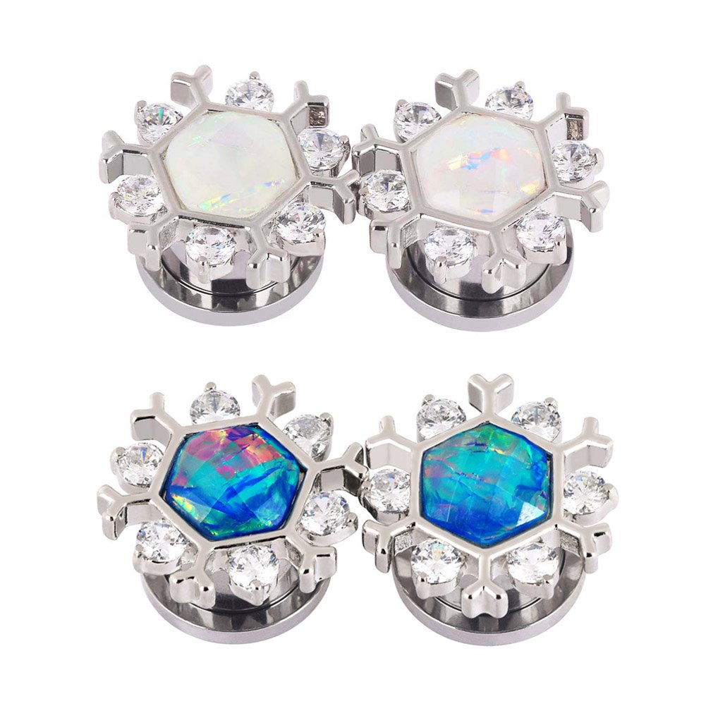 Qmcandy 4pcs 1/4'' Stainless Steel Snowflake Edge Blue White Opal Ear Gauges Piercing