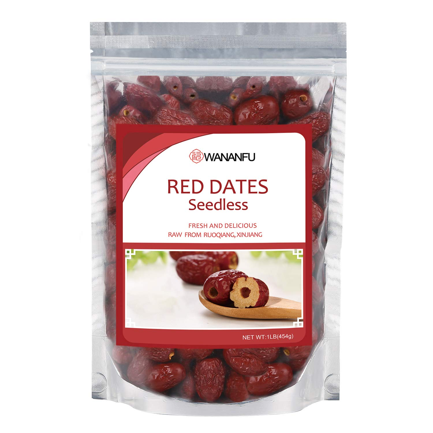 Big Dried Red Dates Seedless From Ogigin Place Ruoqiang Natual Dried CHINESE DATES No Sugar Added- Superfoods Dried JUJUBE DATES 1lb Bag