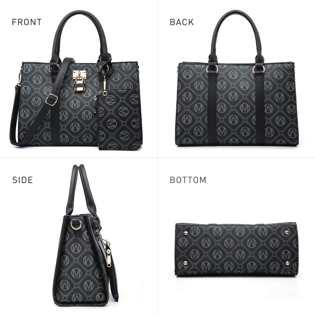 MKP Women Fashion Top Handle Handbags Purses Satchel Tote M Signature Padlock Shouler Bags Work Bag with Wallet Wristlet Set 2pcs (Black)
