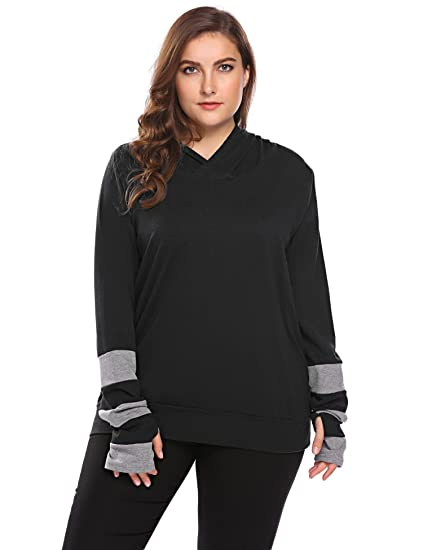 Involand Womens Plus Size Long Sleeve Sweater Thumb Hole Hoodie