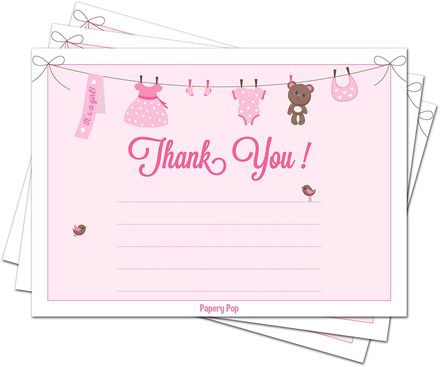 30 Baby Shower Thank You Cards for Girls with Envelopes (30 Pack) - Baptism  or Baby Shower Thank You Notes - Fits Perfectly with Pink Baby Shower ...