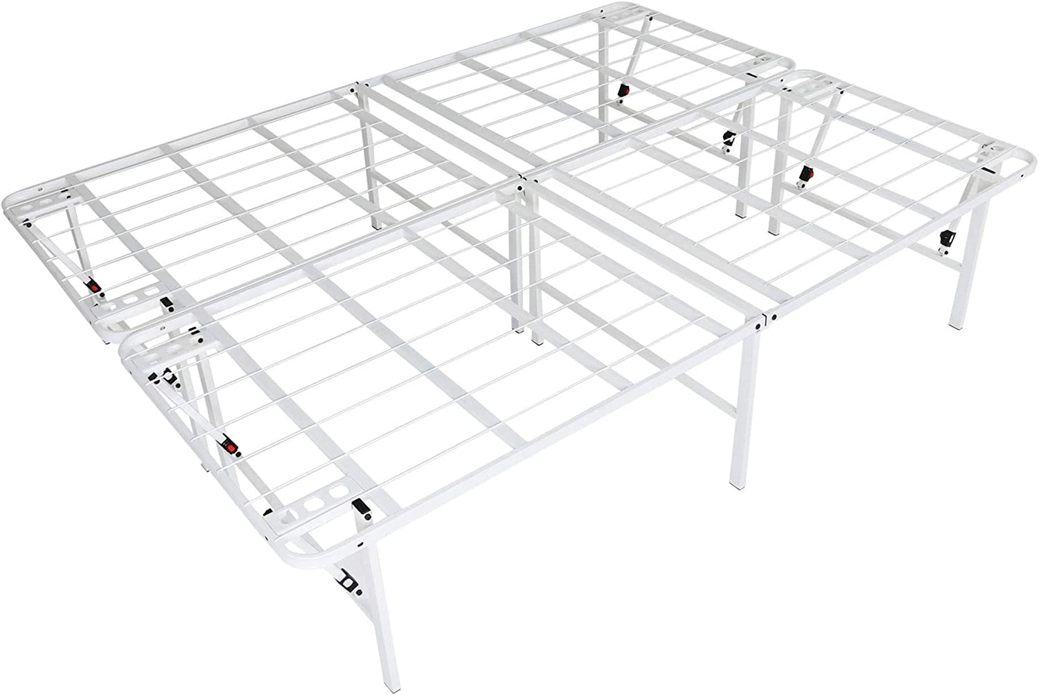 intelliBASE Lightweight Easy Set Up Bifold Platform White Metal Bed Frame, King