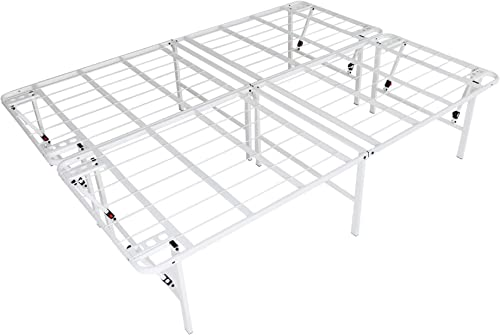 intelliBASE Lightweight Easy Set Up Bifold Platform White Metal Bed Frame, Queen