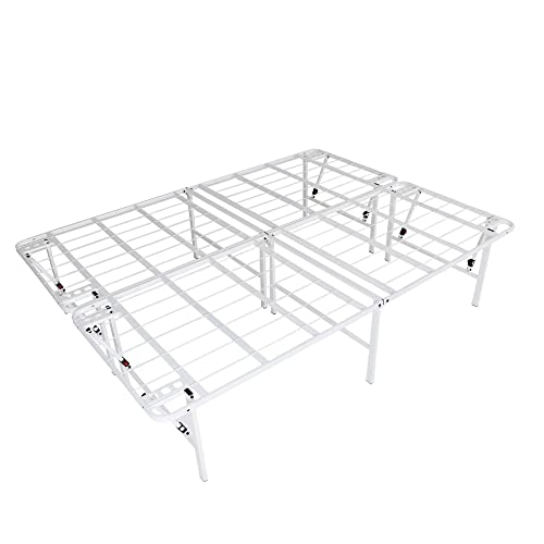 intelliBASE Lightweight Easy Set Up Bifold Platform White Bed Frame, Queen 18