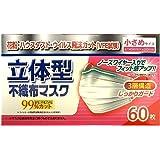 リブ・ラボラトリーズ 立体型不織布マスク 小さめサイズ (約145mmX約90mm)  60枚