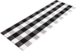 Ukeler Buffalo Plaid Check Rug 2'x6' Cotton Hand-Woven Laundry Runner Rug Black White Checkered Farmhouse Outdoor Rugs Washable Rug for Kitchen/Laundry/Bathroom/Bedroom/Doorway