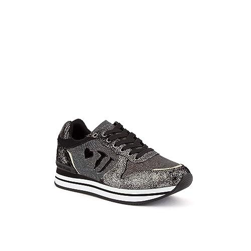 Trussardi Jeans Sneaker Running Donna in Tessuto Pelle Crack Silver Suede  Nero D19TJ05  Amazon.it  Scarpe e borse a507fc4b230