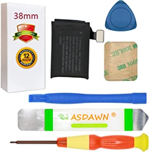 A1847 Battery for 38mm Apple Watch Series 3 A1848 A1858 A1860 (GPS Version + LTE Cellular Version) Replacement with Repair Tool Parts+ Back Cover Adhesive + Installation Instruction