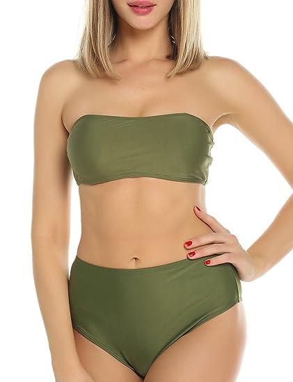 5cdb625aa69df CFR New Women s Sexy Bikini Set Two Pieces Bandeau High Waist Bottom  Green