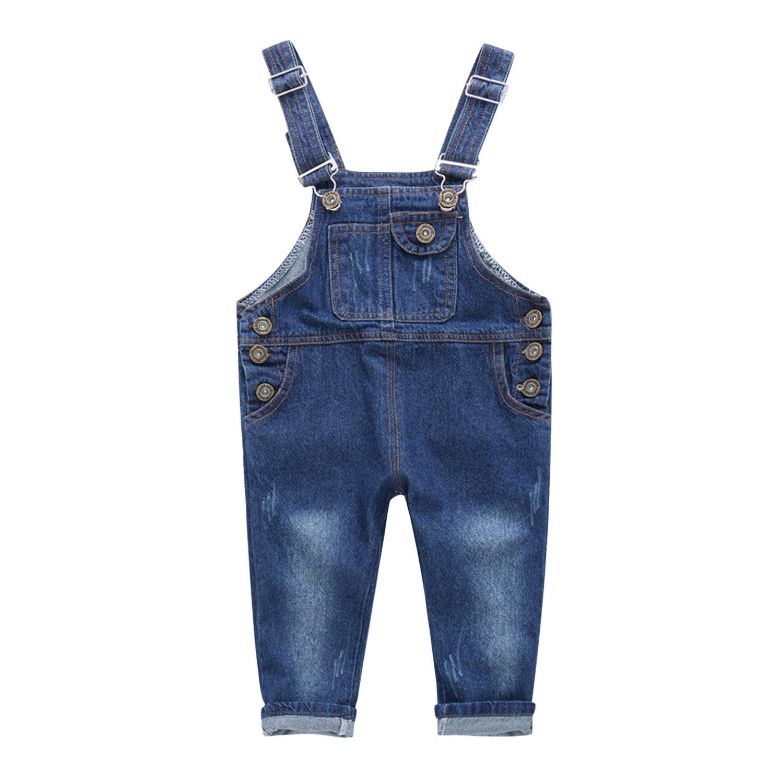 CHIC-CHIC Salopette Jeans Pantalon Bébé Garçon Fille Denim Pant Sport Casual Souple Mignon