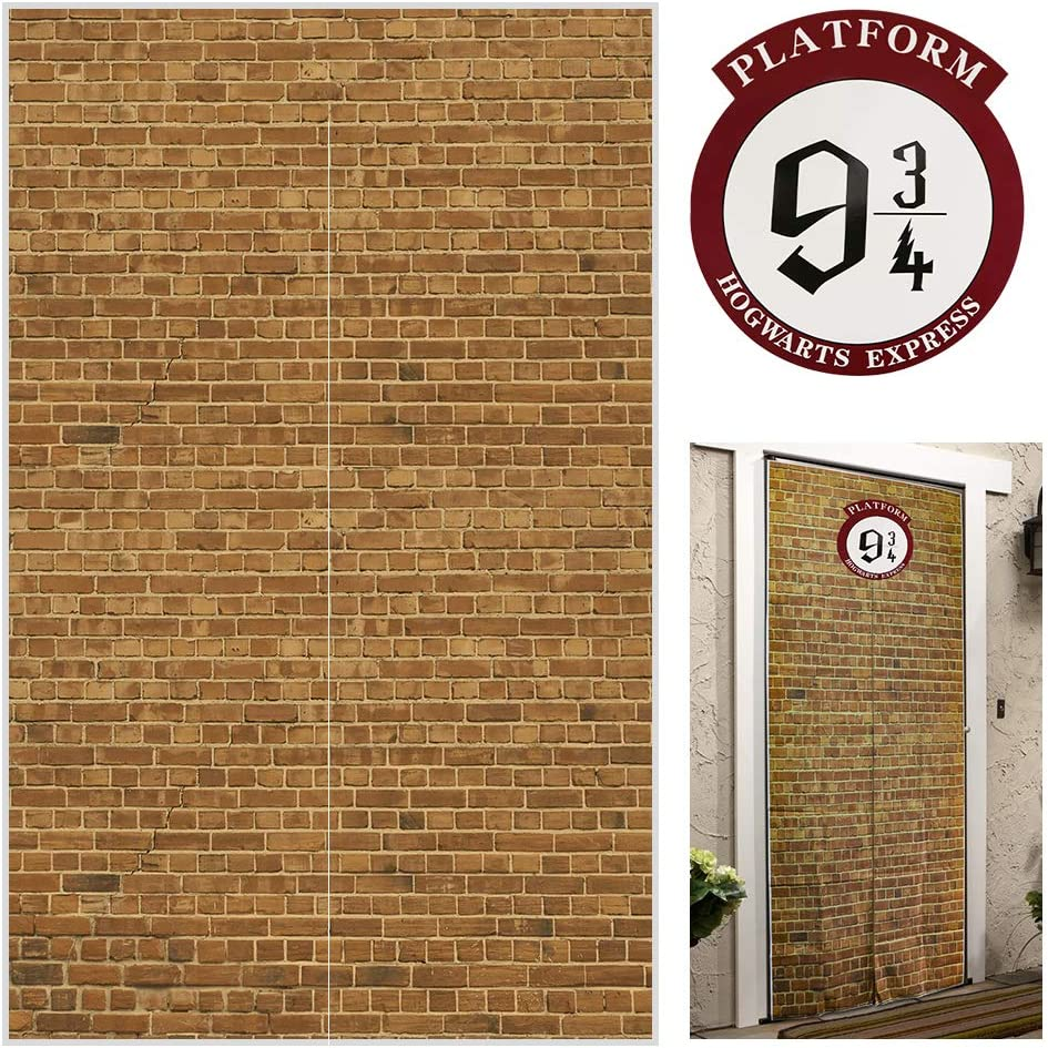 """Platform 9 And 3/4 King's Cross Station, Curtains Door for Harry Potter, Red Brick Wall Party Backdrop, Party Supplies Decoration Halloween, Secret Passage To The Magic School, Platform Harry Potter 78.7""""x 49.2"""" Inch Halloween Decor-Brown"""