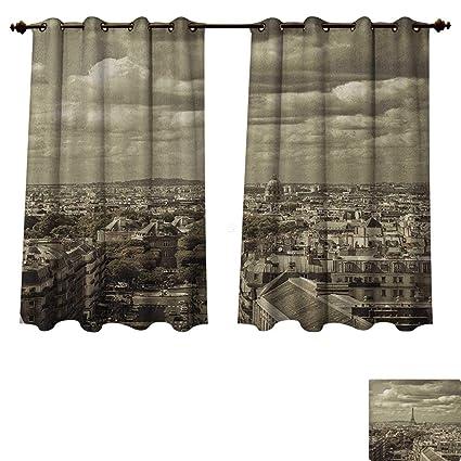 Amazoncom Paris Bedroom Thermal Blackout Curtains City Skyline Of