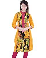 Nikks Fashion Printed Regular Fit Straight Yellow Cotton Kurti