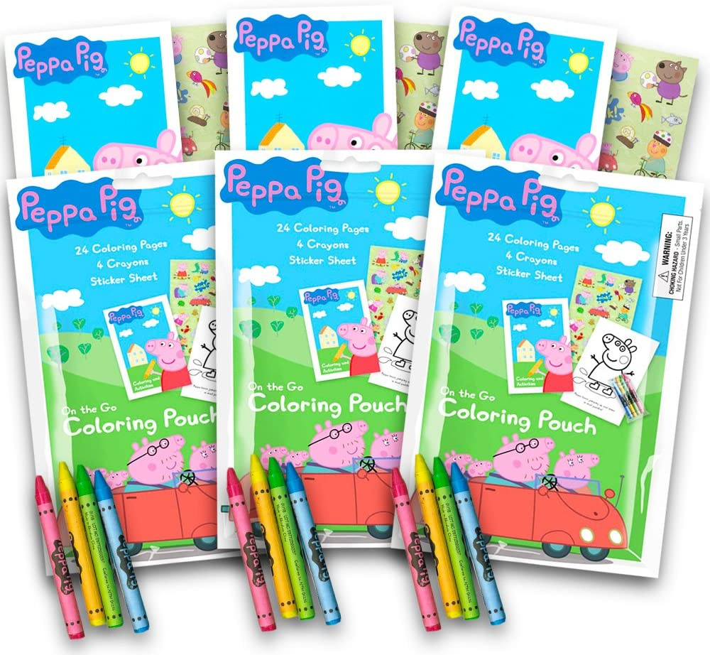 Amazon.com: Peppa Pig Coloring Pack Party Favors with Stickers ...