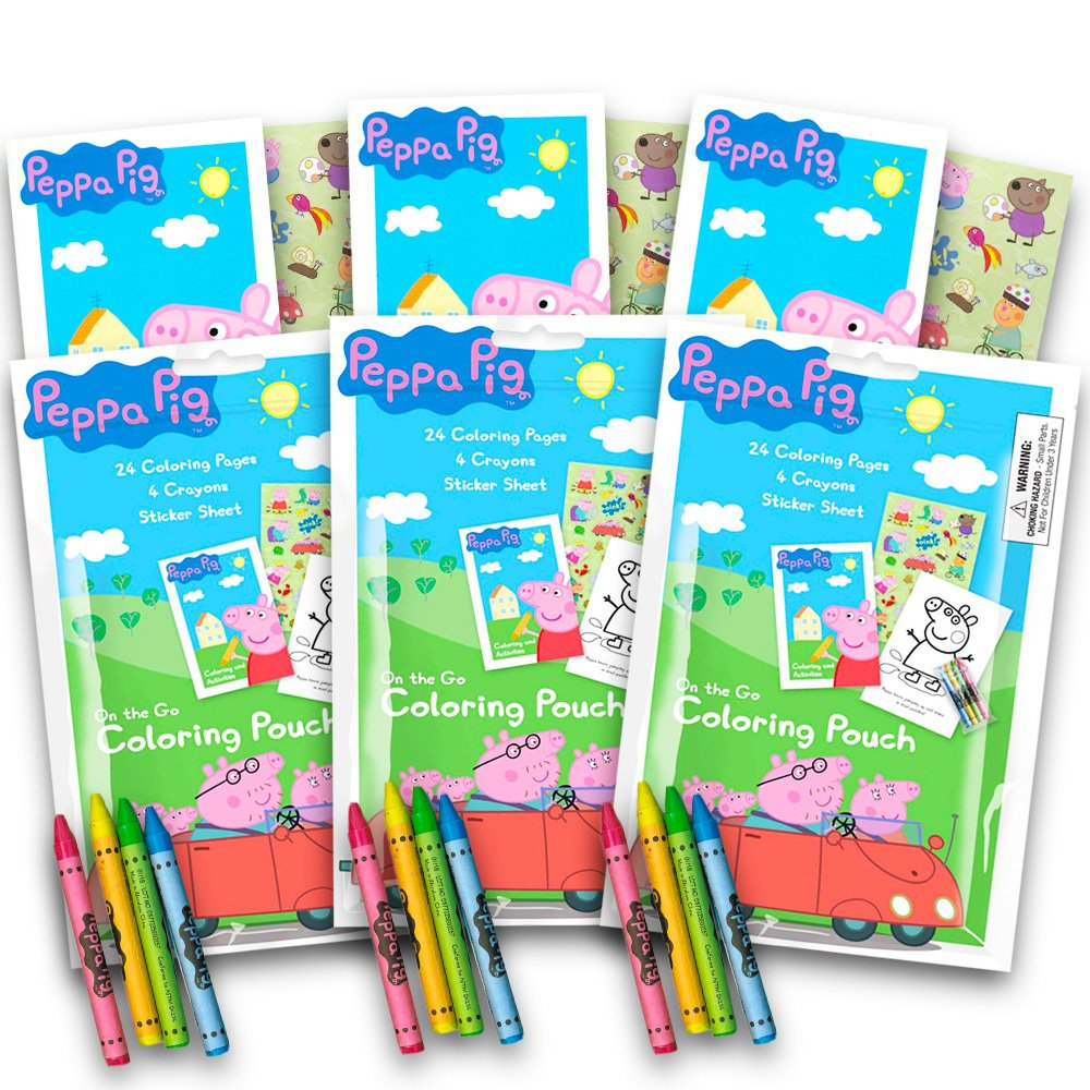 Cheap Peppa Pig Coloring Pack Party Favors With Stickers Crayons And Activity Book In