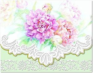 Carol's Rose Garden Peony Mix Blank 10 Card Set Portfolio