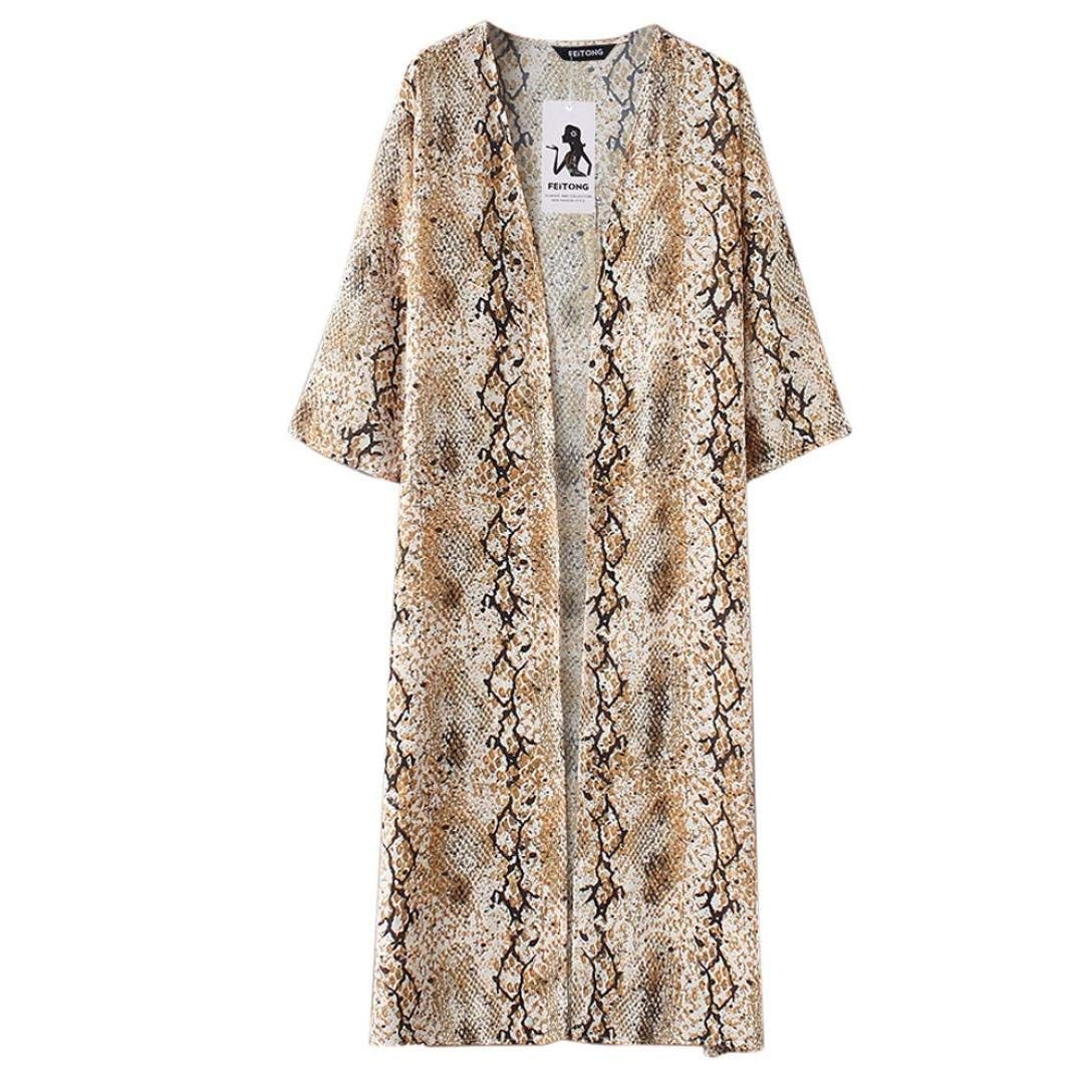 Go-First Beach Cardigan for Women Cotton Elegant Swing Dress with Personality Pattern Summer Lightweight Cozy Slim Seven-Quarter Sleeve Dress (Color : Beige, Size : XXL)