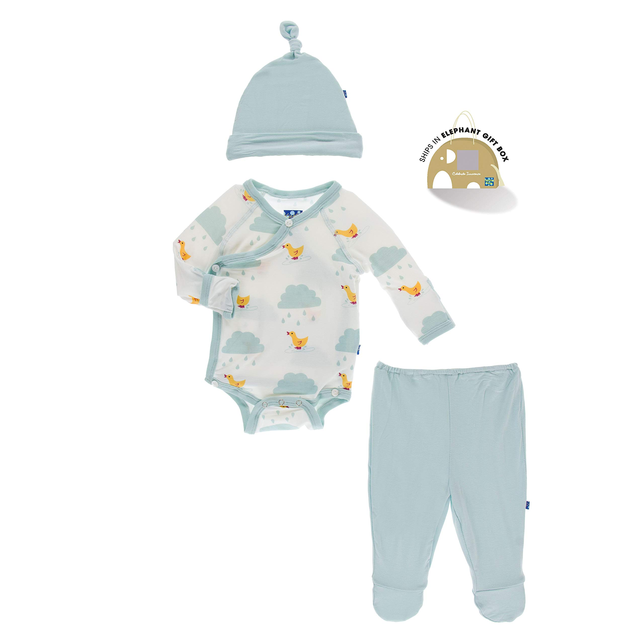 KicKee Pants Kimono Newborn Gift Set with Elephant Box | Geology and Meteorology Collection | (Newborn, Natural Puddle Duck) by Kic Kee Pants