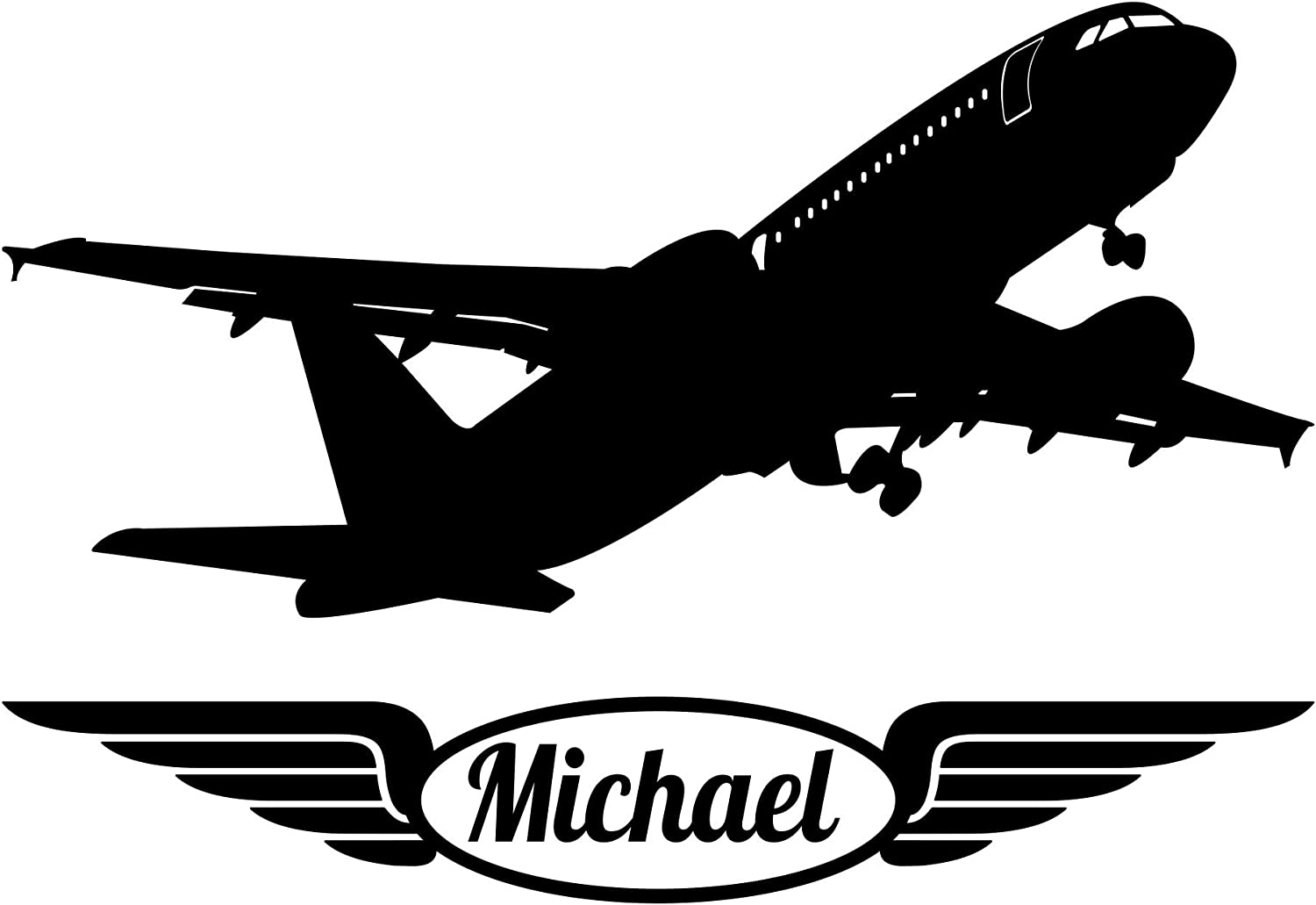 Personalized Airplane Wall Decal Choose Your Color Custom Name WD0006