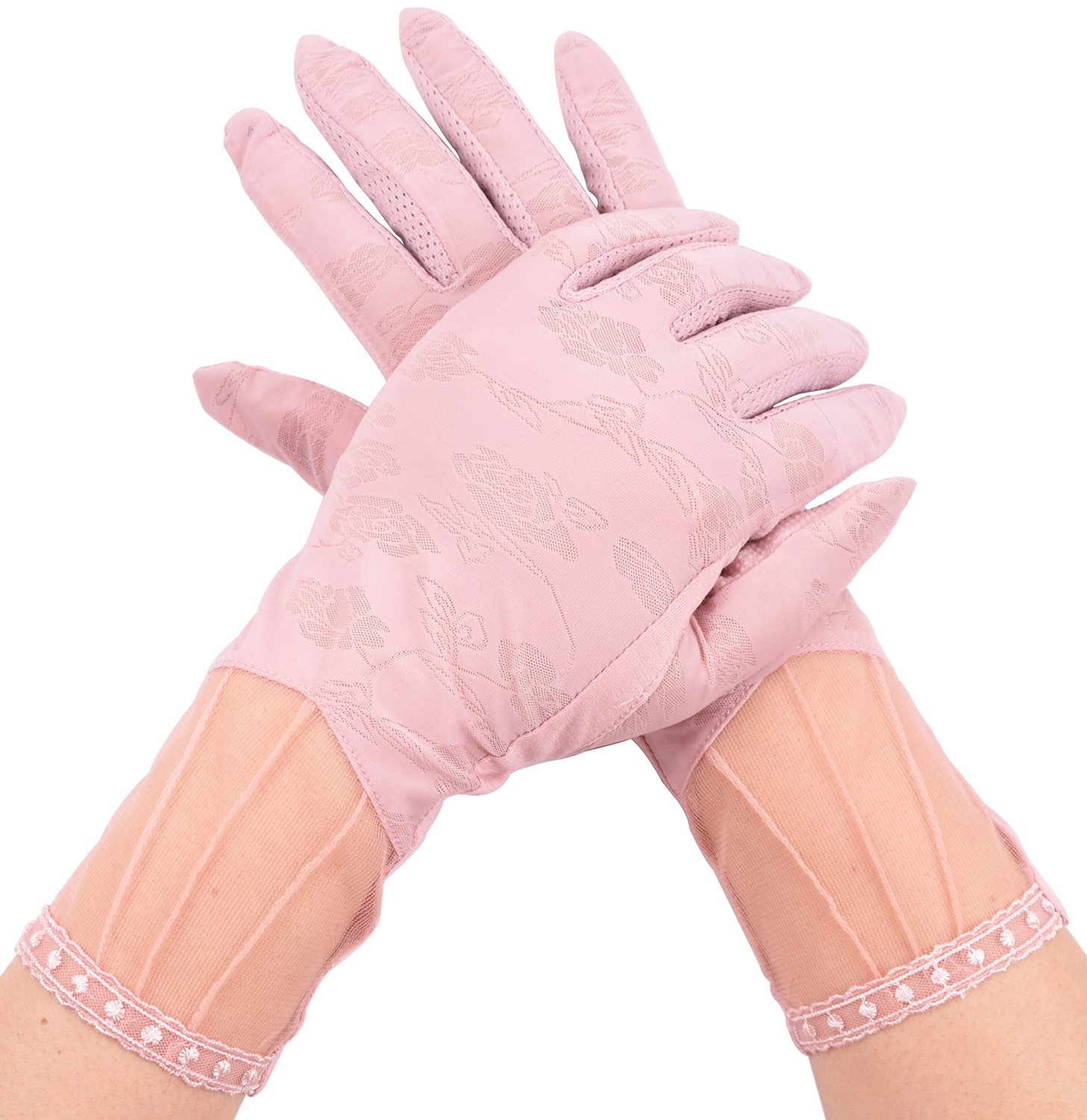 Lace Summer Sunblock Driving Gloves for Women Touchscreen Gloves UV Protection Pink