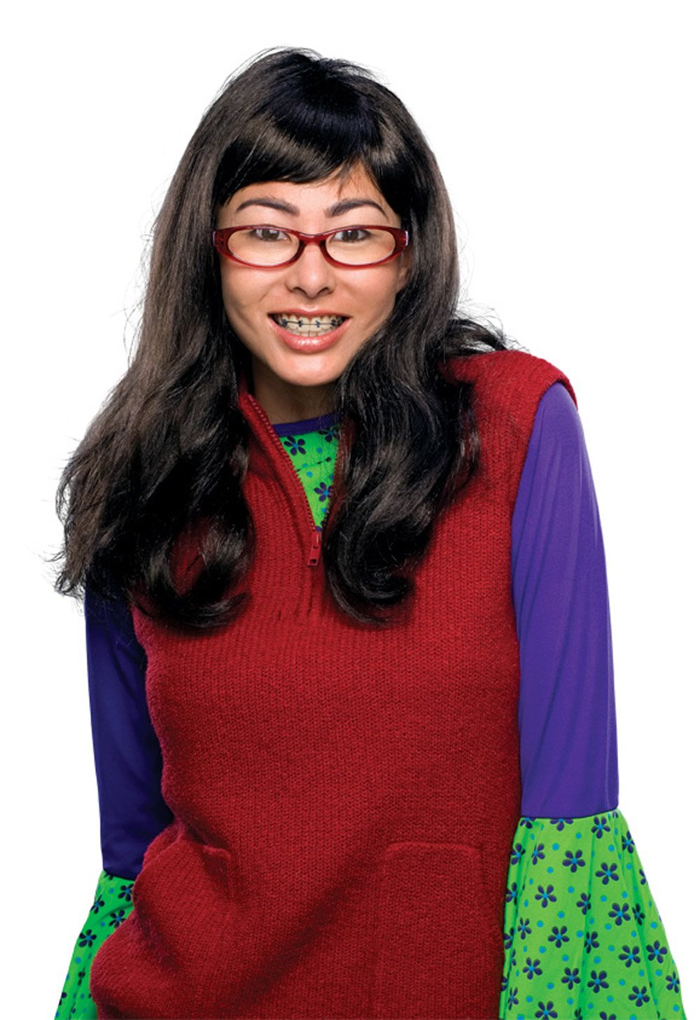 51670 Ugly Betty Wig, Glasses & Fake Braces Teeth
