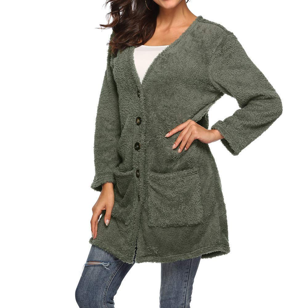 Green Christmas Womens Long Sleeve Open Front Buttons Cable Chunky Knit Pocket Winter Sweater Cardigan