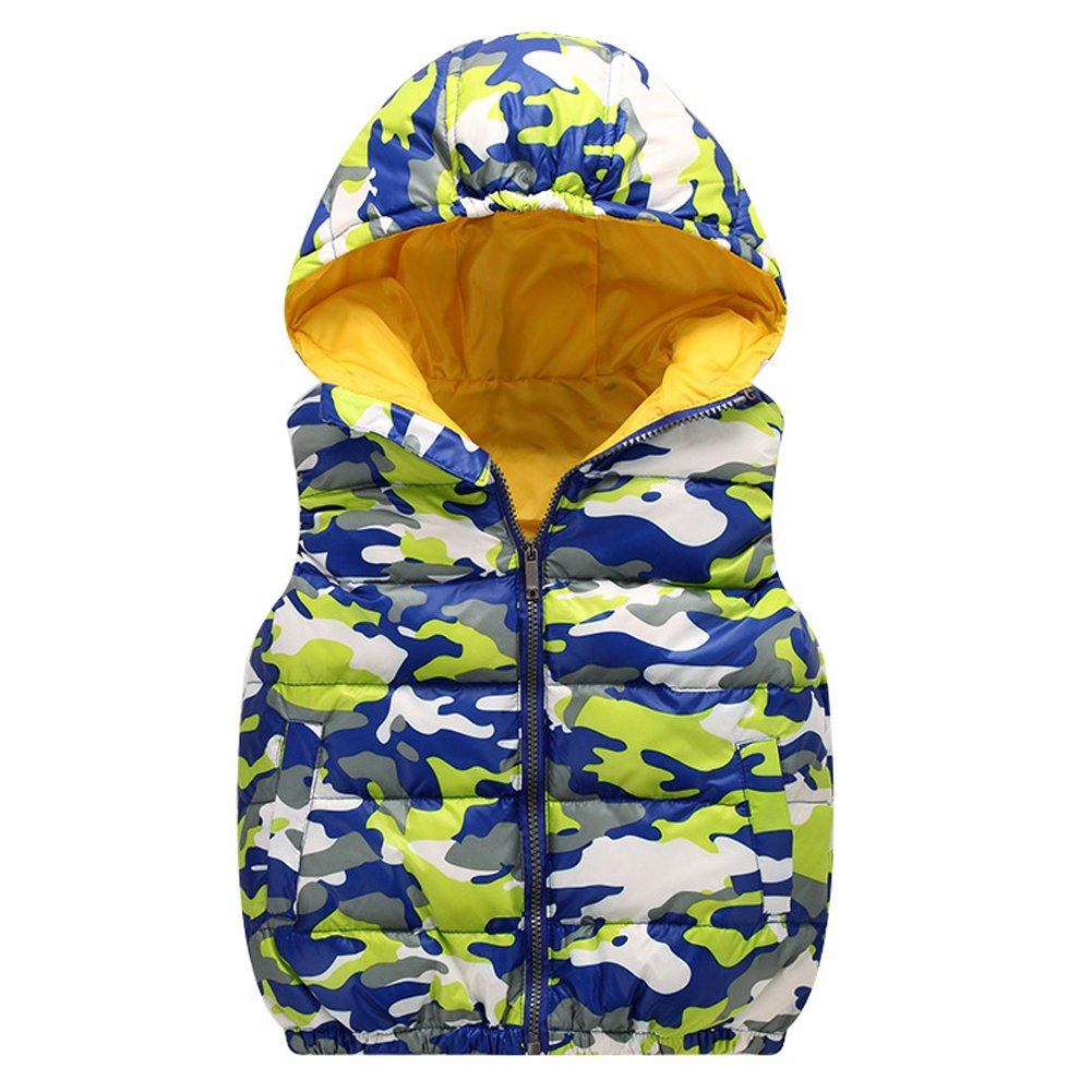 Boys Kid's Camouflage Pattern Sleeveless Puffer Hooded Quilted Vest