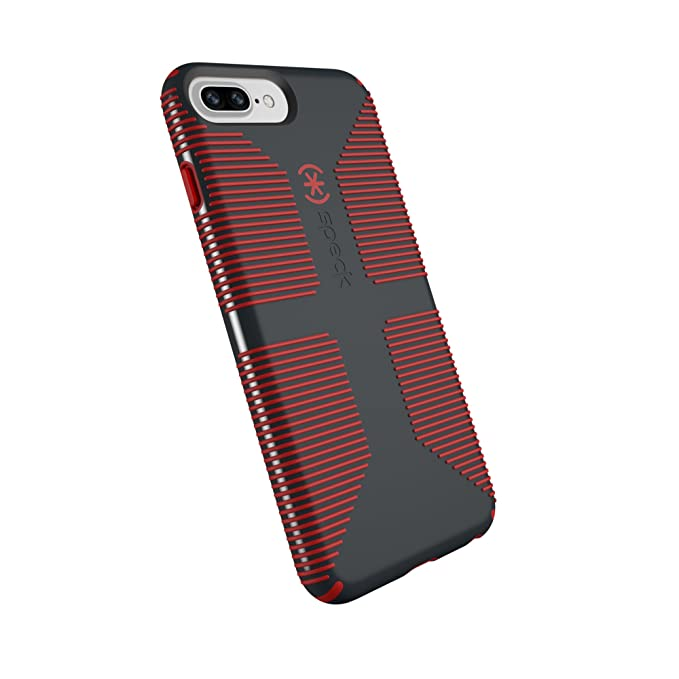 on sale 0f57b 12f47 Speck Products CandyShell Grip Cell Phone Case for iPhone 8 Plus/7 Plus/6S  Plus/6 Plus - Charcoal Grey/Dark Poppy Red