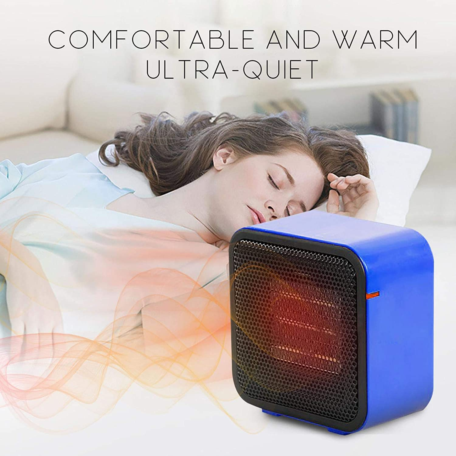 Momolaa Fan Heater Portable,400W Electric Heater,Safety Overheat Protection, Intelligent Control, Touch-Sensitive Buttons, Adjustable Thermostat for Home/Office/Bedroom Black 1