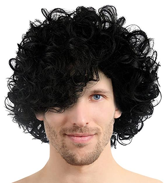 80 S Pop Rocker Star Curly Wig Black Short Hair Afro Wigs For Cosplay Costume Halloween Party