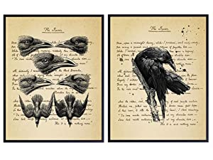 Edgar Allan Poe Raven, Vintage Wall Art Decor Set - Rustic Goth Home, Apartment or Office Decoration for Living Room, Bedroom - Gift for Steampunk Fans - Set of 2-8x10 Photo Prints