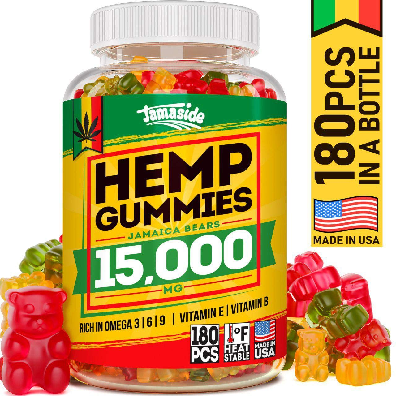 Hemp Gummies 15000 MG - Made in USA - 180 MG Hemp in Each Gummy - Premium Hemp Extract - CO2 Extraction - Omega 3, 6, 9 - Anxiety & Stress Relief - Sleep & Mood Improvement by Jamaside