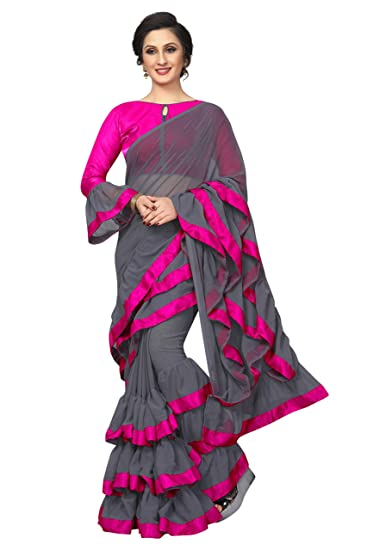 6e3b58c9def07 Niza Fashion Women s New Ruffle Pattern Georgette Saree With Blouse   Amazon.in  Clothing   Accessories