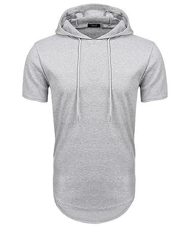 nouveau produit 7158c af28c Hasuit Homme Polo à Capuche T-shirt Manches Courtes Zippé Sweat-shirt S-XXL