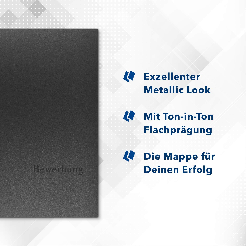 """5 St/ück 4-teilige Bewerbungsmappen Esclusiva/® Exzellent-plus in Anthrazit mit 2 Klemmschienen //// in 1A-Premium-Qualit/ät mit hochwertiger Flach-Pr/ägung /""""BEWERBUNG/"""" //// Produkt-Design von Mario Lemani"""