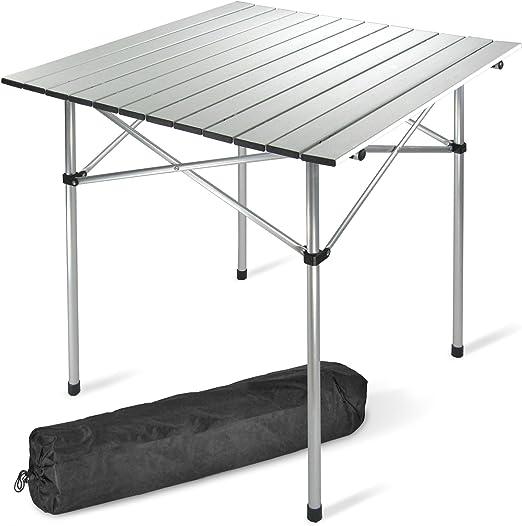 JOM Mesa de Camping, de 70 x 70 cm de Aluminio, sólo 2, 4 kg ...