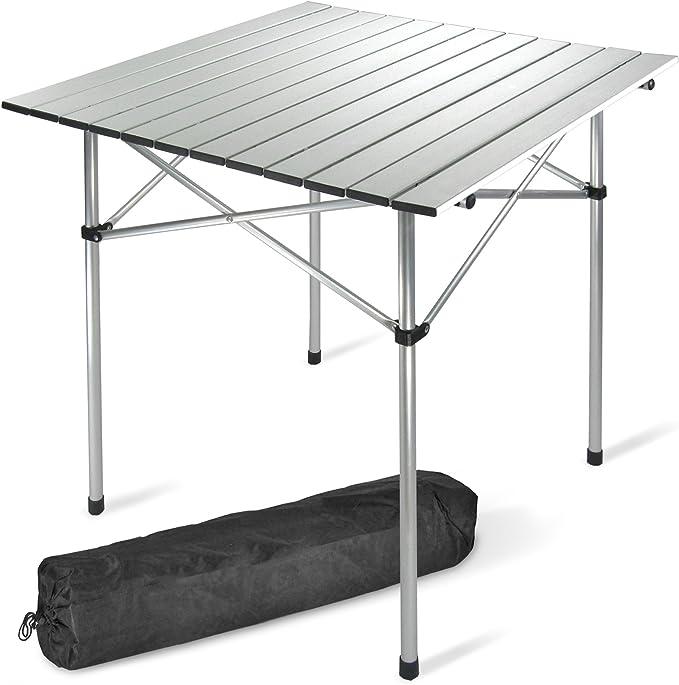 JOM Mesa de Camping, de 70 x 70 cm de Aluminio, sólo 2,4 kg, Plegable, Incl. Bolsa de Transporte: Amazon.es: Jardín