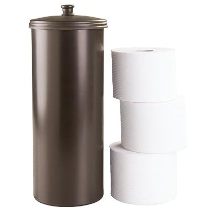 InterDesign Kent Free Standing Toilet Paper Holder U2013 Spare Roll Storage For  Bathroom, Brown