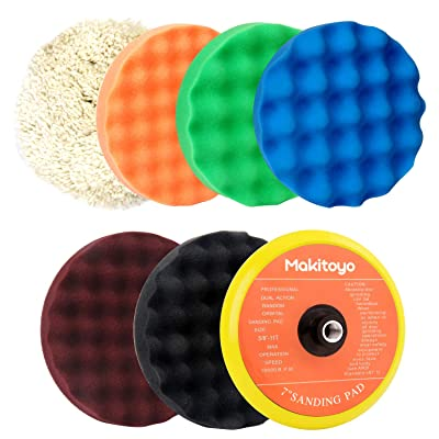"Makitoyo Premium Quality 7-Inch Buffing and Polishing Pad Kit, 5pc of 7"" Polishing Sponge Pad & 1 pc Wool Polishing Pads, 1pc Velcro Sanding Pad Kit-7pcs set: Home Improvement"